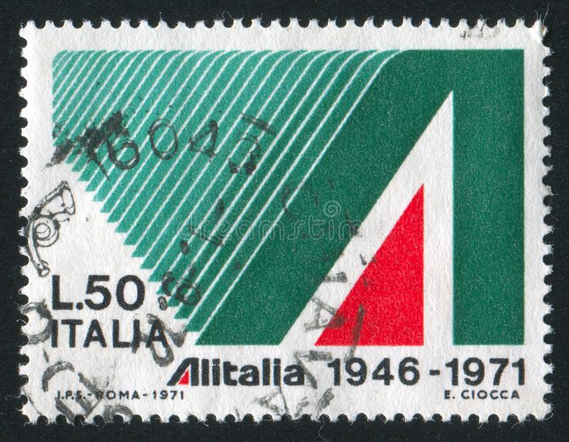 Ornamental A. ITALY - CIRCA 1971: stamp printed by Italy, shows Ornamental A, circa 1971 stock image