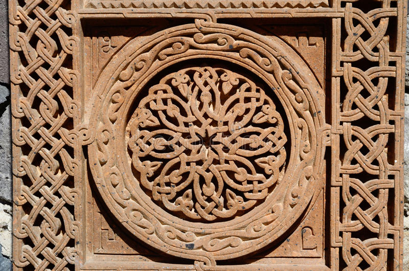 Ornamental knotworks of armenian cross stones - khachkars royalty free stock images