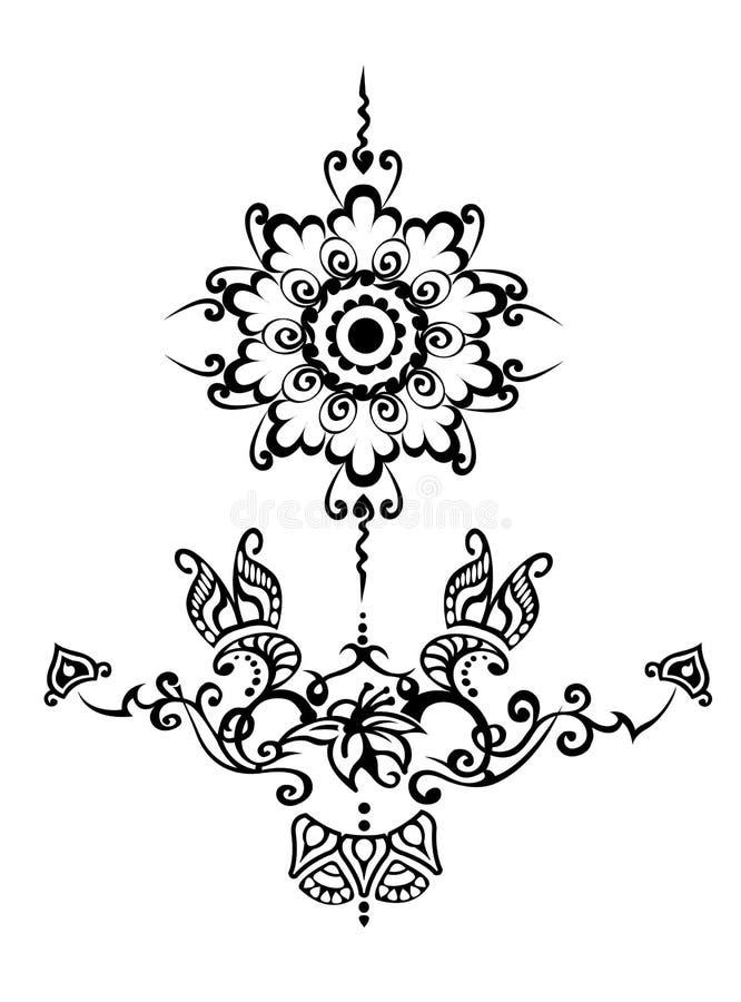 ornamental kwiecisty tatuaż royalty ilustracja
