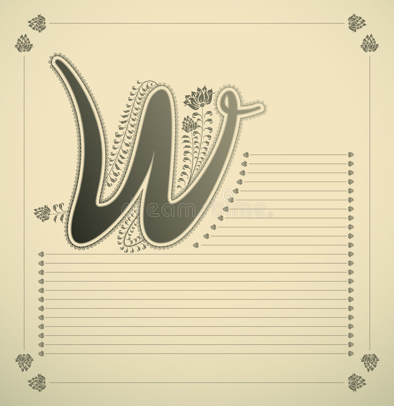Download Ornamental letter - W stock vector. Image of character - 8026836