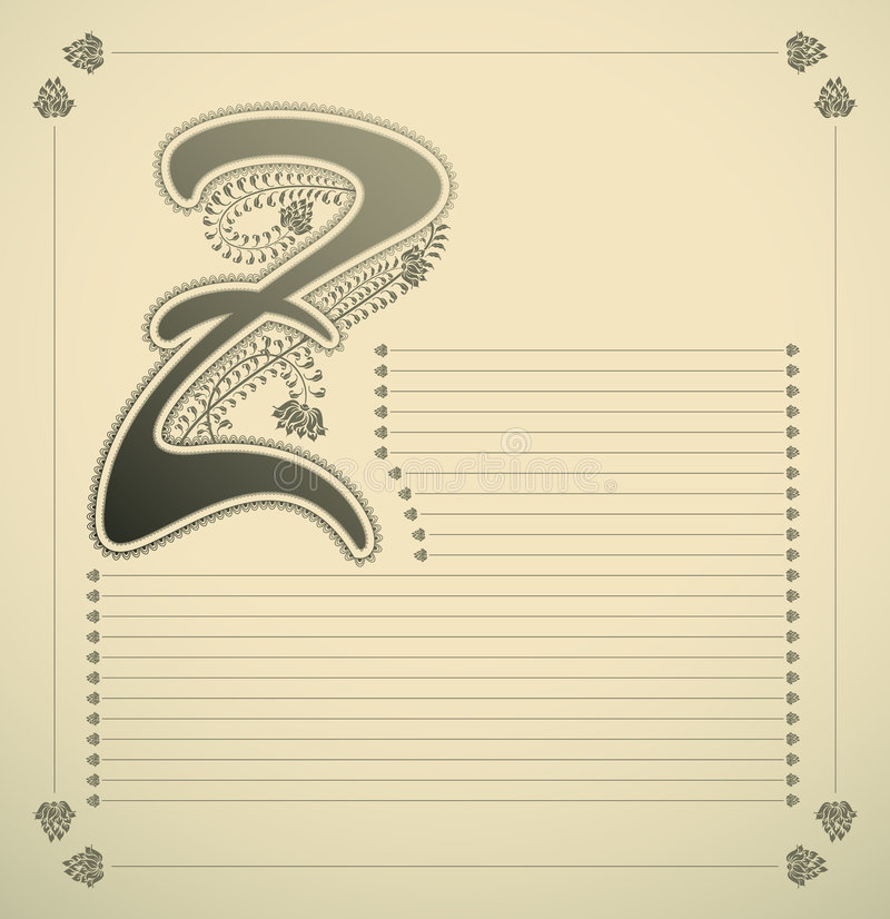 Ornamental letter - Z. Vector illustration stock illustration