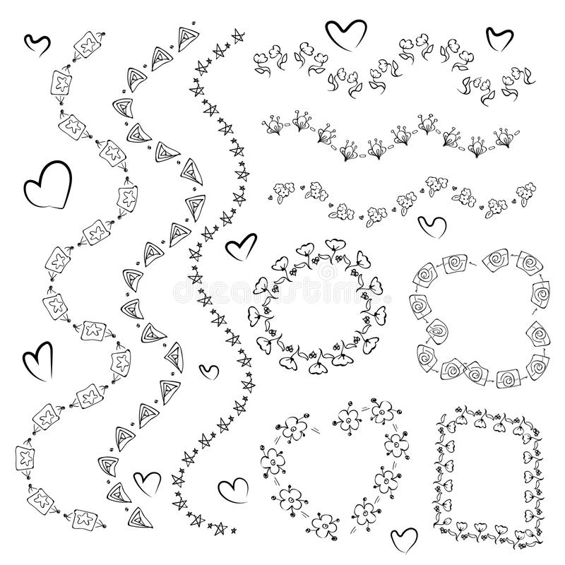Ornamental lines and stripes doodle of free hand drawing sketch vector stock illustration