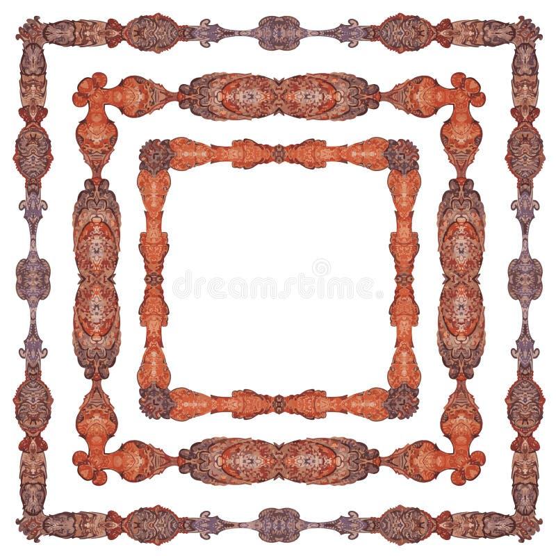 Ornamental, lujosamente detallado, variedades del modelo del marco, en tres diversas versiones libre illustration