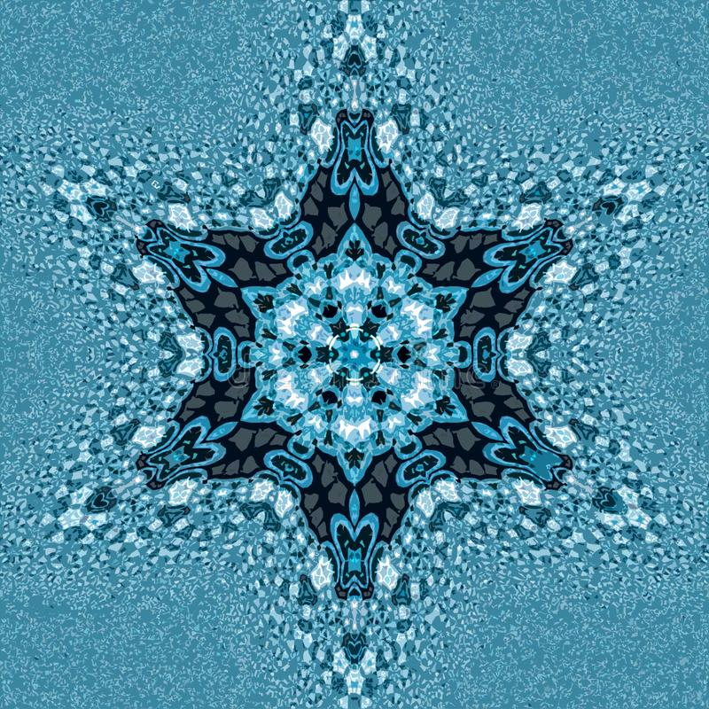 Ornamental miracle snowflake mandala and fractal effect in russian style royalty free stock photography
