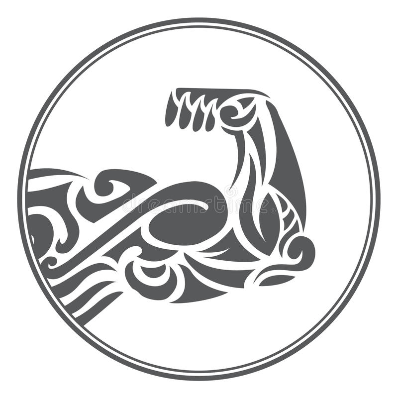 Ornamental muscle fitness symbol. Ornamental muscle symbol of fitness logo stock illustration
