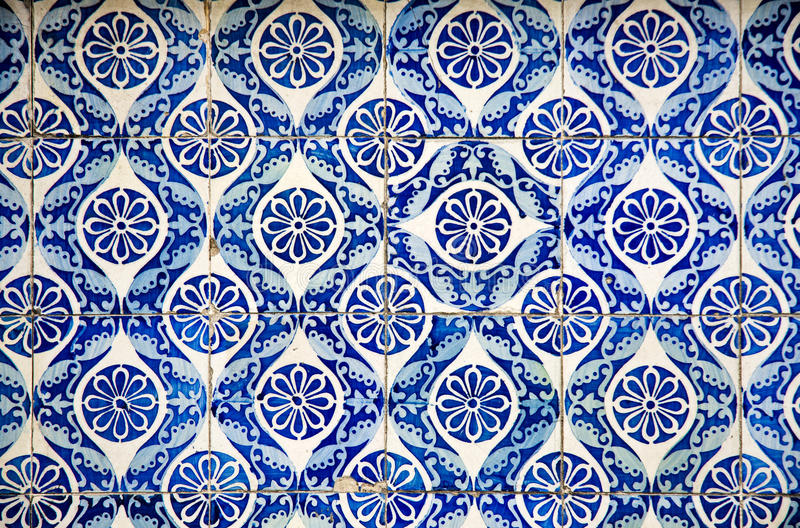 Ornamental old typical tiles royalty free stock photography