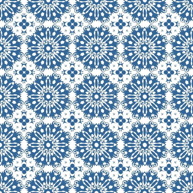 Download Ornamental Oriental Blue Floral Beautiful Royal Vintage Spring Abstract Seamless Pattern Texture Wallpaper Stock Illustration