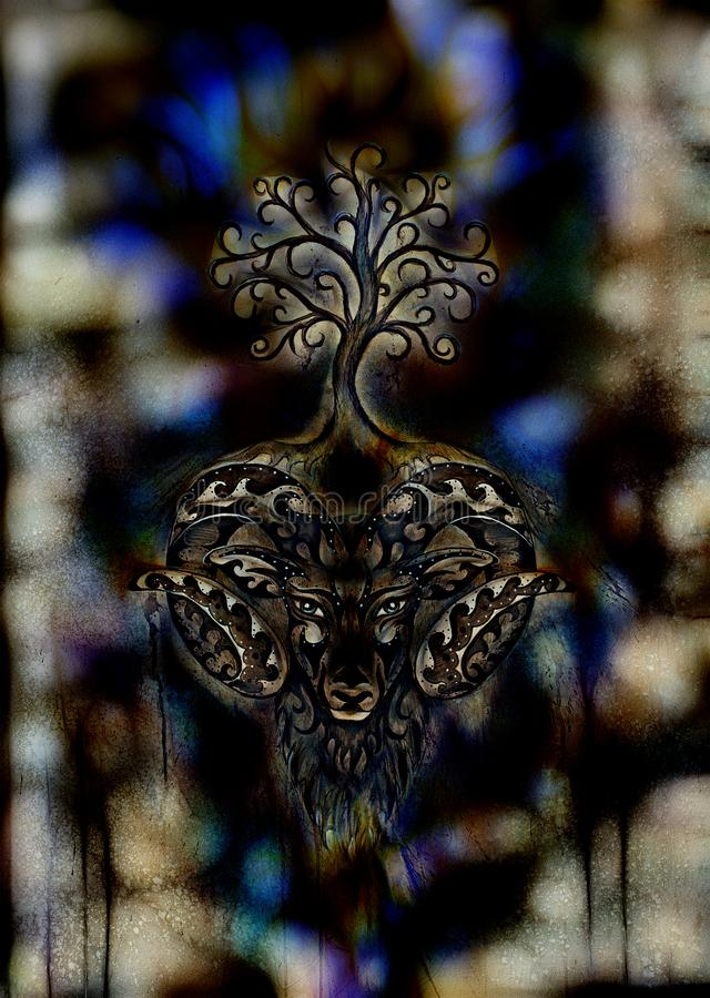 Ornamental painting of Aries, sacred animal symbol and tree of life. royalty free stock photos