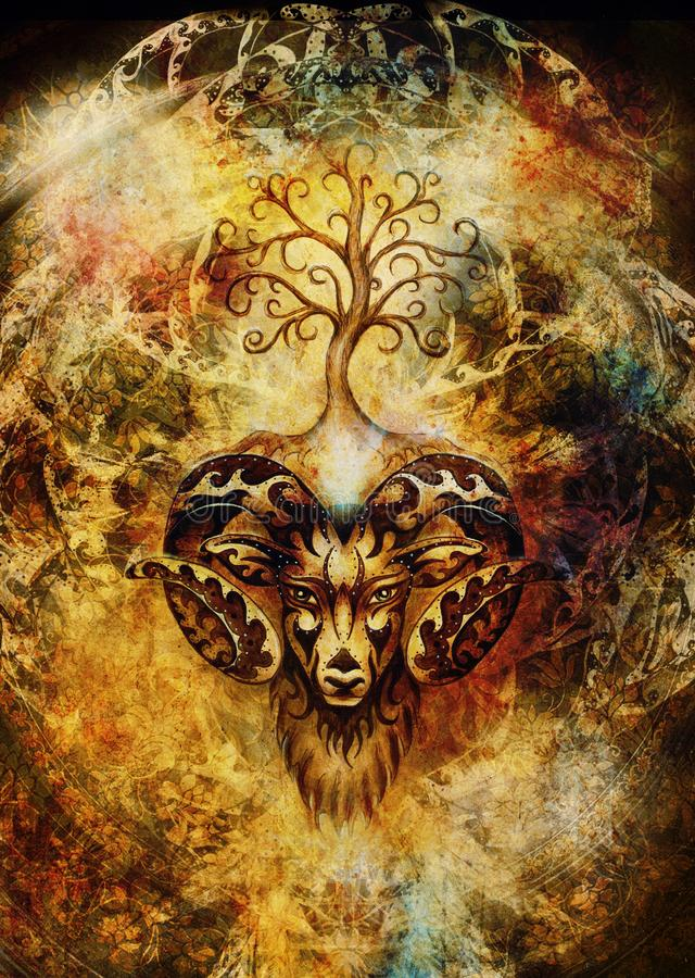 Ornamental painting of Aries, sacred animal symbol and tree of life. stock photo