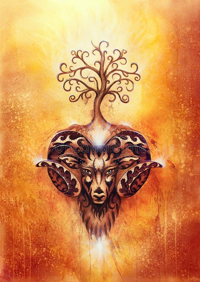 Ornamental painting of Aries, sacred animal symbol and tree of life. stock images