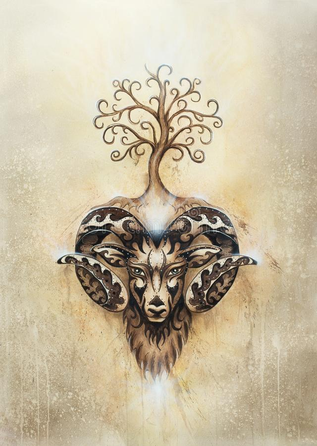 Ornamental painting of Aries, sacred animal symbol and tree of life. stock photos