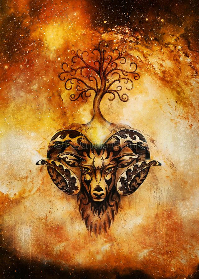 Ornamental painting of Aries, sacred animal symbol and tree of life in cosmic space. stock photos