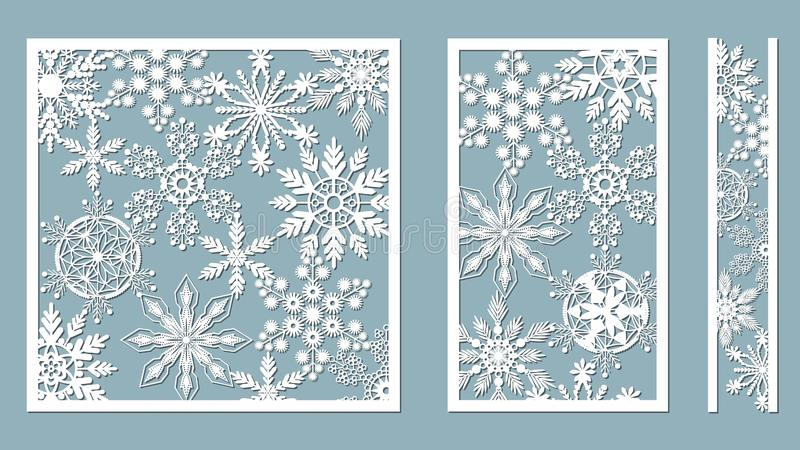 Ornamental panels with snowflake pattern. Laser cut decorative lace borders patterns. Set of bookmarks templates. Image suitable vector illustration