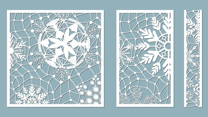 Ornamental panels with snowflake pattern. Laser cut decorative lace borders patterns. Set of bookmarks templates. Image suitable stock illustration