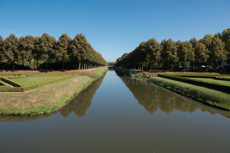 Ornamental park in Kleve in Germany with moat.  royalty free stock image