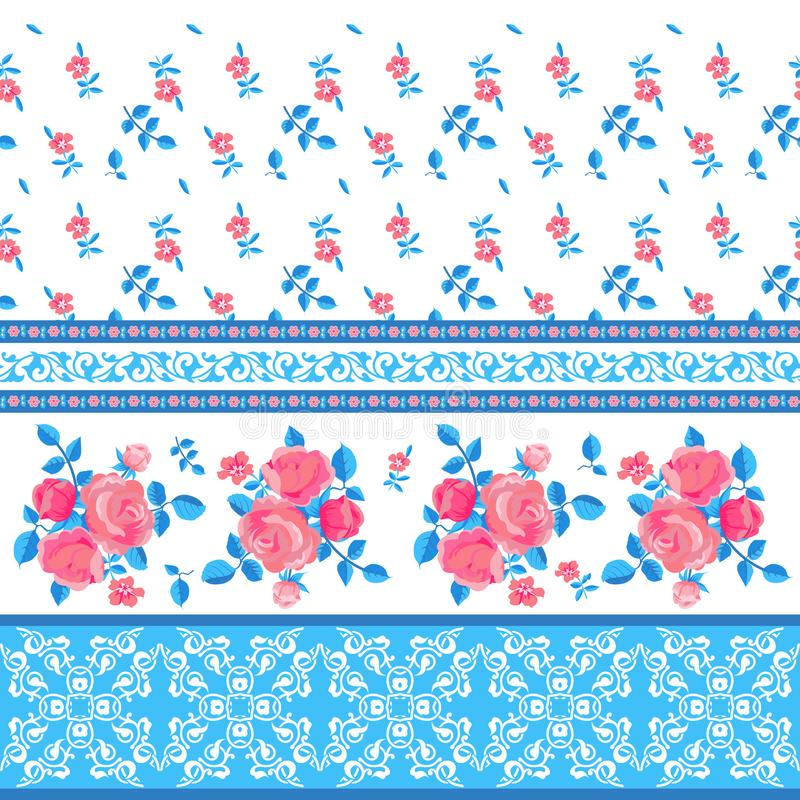 Ornamental pattern with flowers royalty free illustration