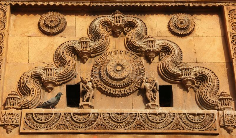 An ornamental pattern on a wall. An ornamental pattern decorates a wall in on of the building of Jaisalmer, India stock photography