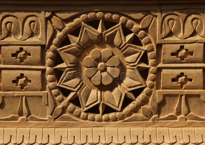An ornamental pattern on a wall. A wall is decorated with an ornamental pattern in the city of Jaisalmer, India stock photos