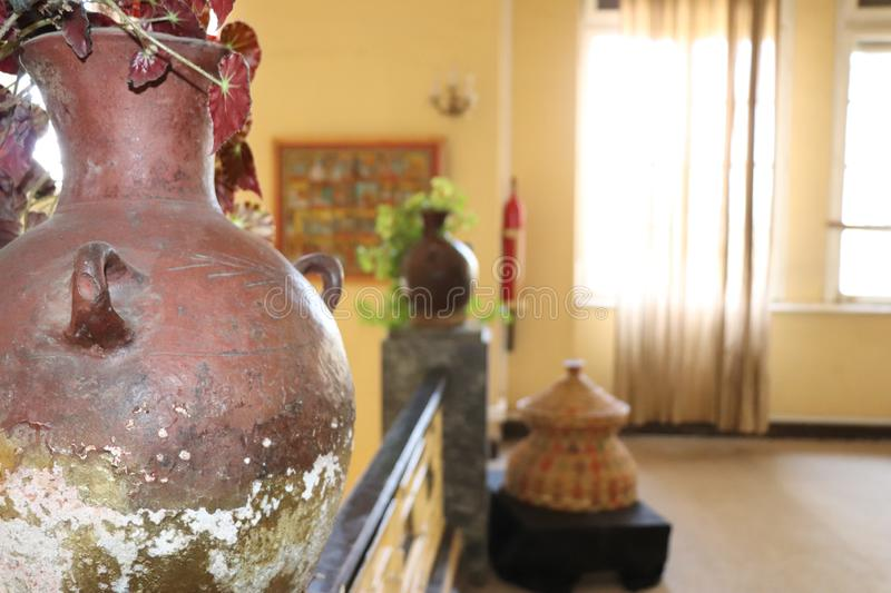 Ornamental plant in a jar in the palace of Emperor Haile Selassie I, now Ethnological Museum, Institute of Ethiopian Studies. Interior view of the former palace stock image