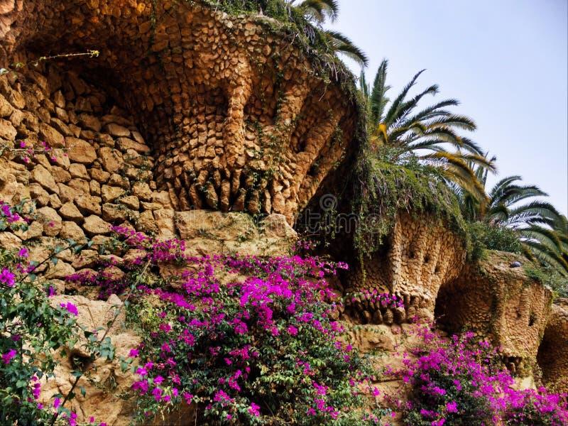 Ornamental plants in Park Güell stock images