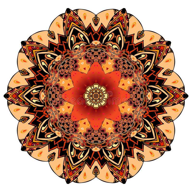 Ornamental print for dish or round carpet in ethnic style. Red tulip on mandala flower in vector. Design element.  royalty free illustration