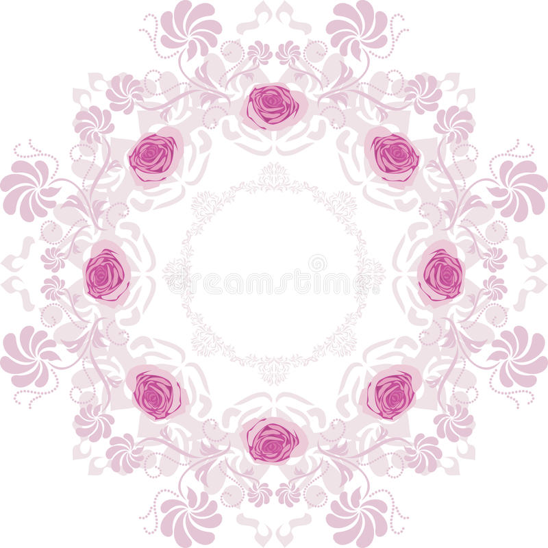 Ornamental purple circular element with roses. Illustration vector illustration