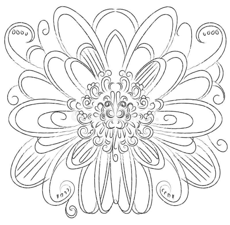 Ornamental round floral. flower element decor vector line.  vector illustration