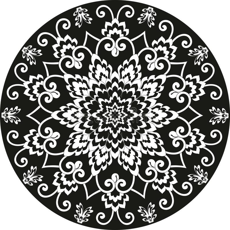 Ornamental round floral pattern black and white royalty free stock image