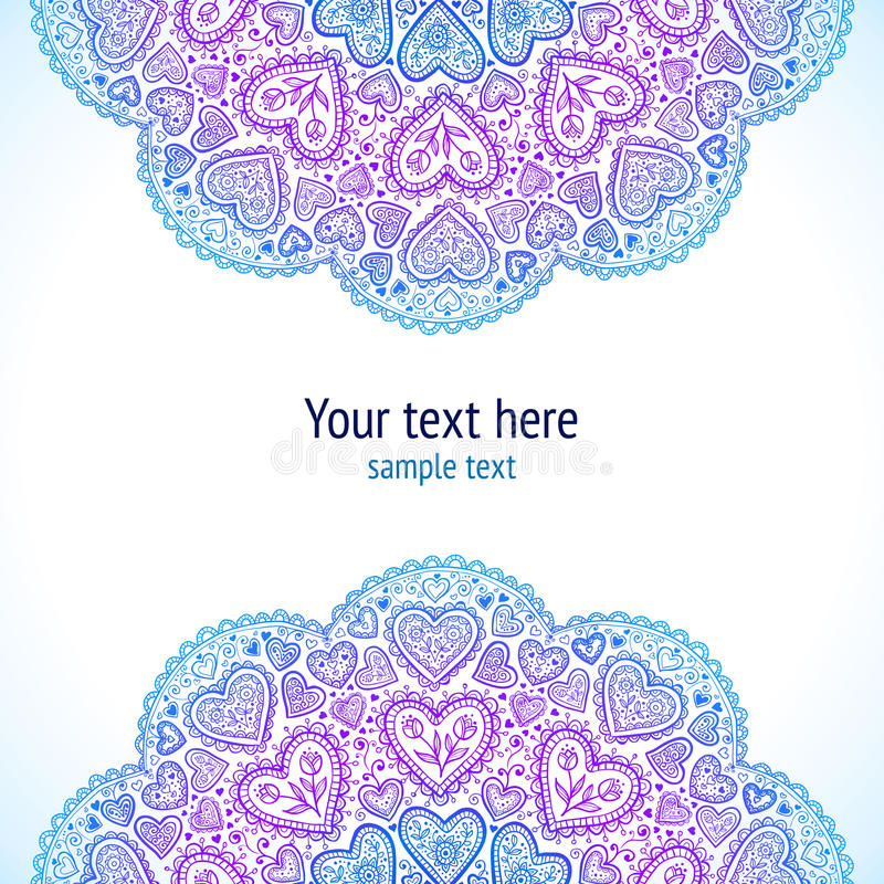 Ornamental round hearts pattern in Indian style stock images