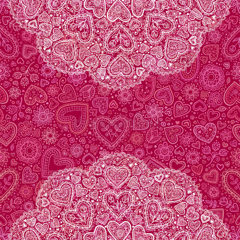 Ornamental round hearts pattern in Indian style stock image