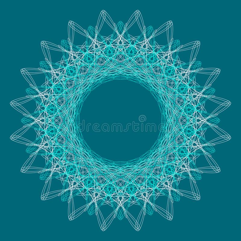 Ornamental round lace pattern background for certificate, note, ticket, reward, diploma, voucher design royalty free illustration