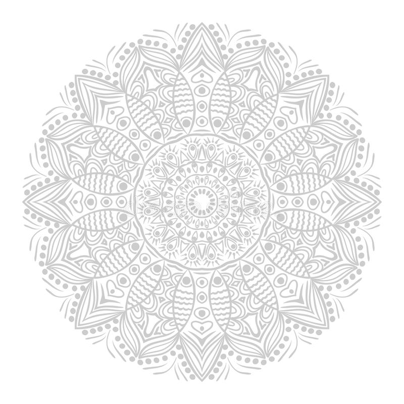 Ornamental round lace pattern, circle background with many details, looks like crocheting handmade lace royalty free illustration