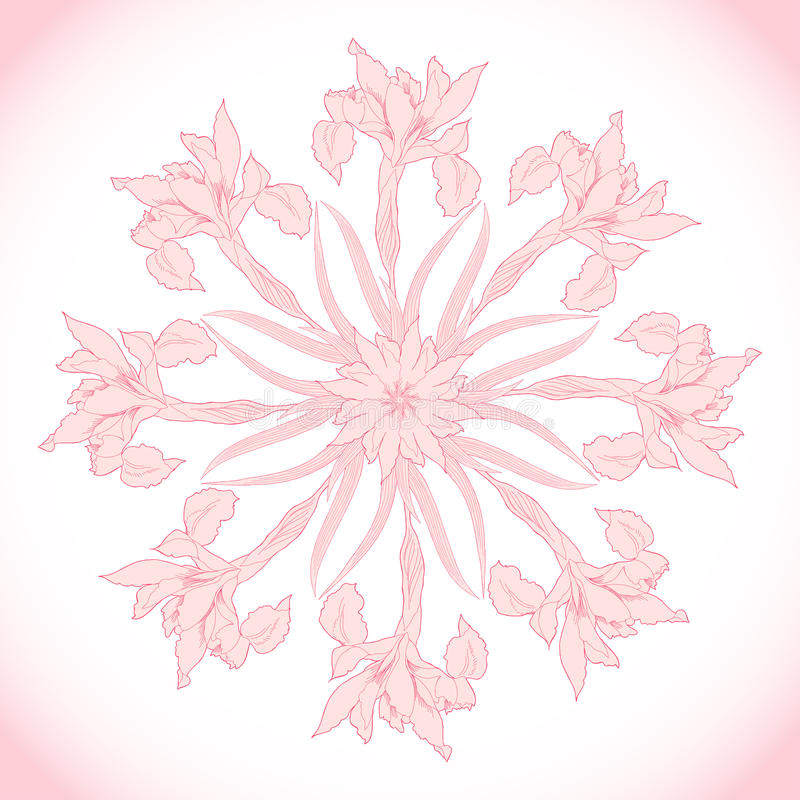 Ornamental round with pink irises. Vector illustration royalty free illustration