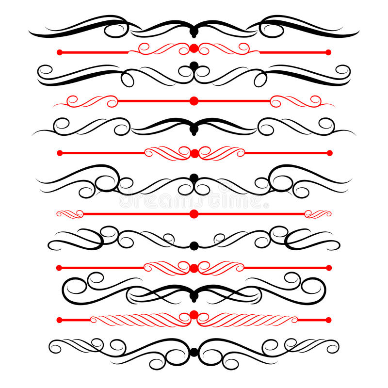 Ornamental rule lines in different design decor. royalty free illustration