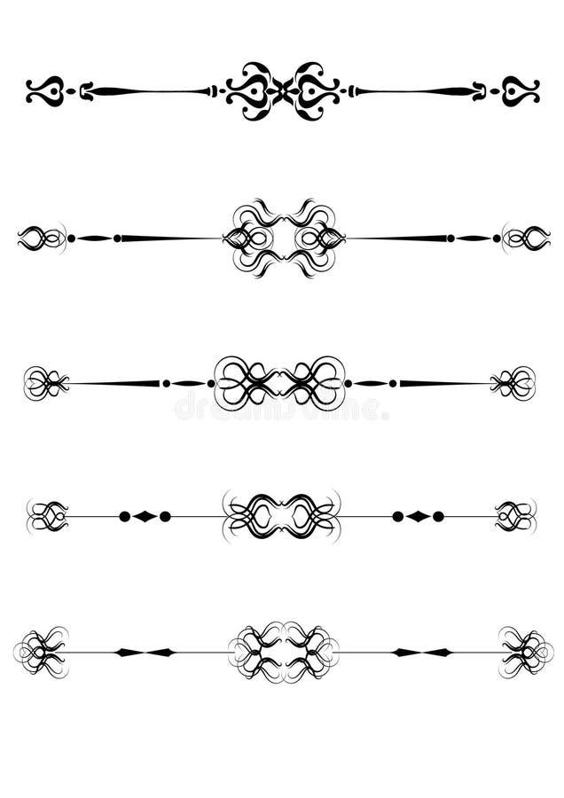 ornamental rządzi set ilustracja wektor