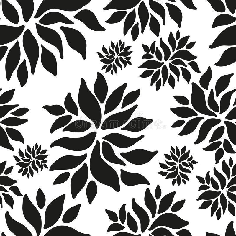 Ornamental seamless floral ethnic black and white pattern vector illustration