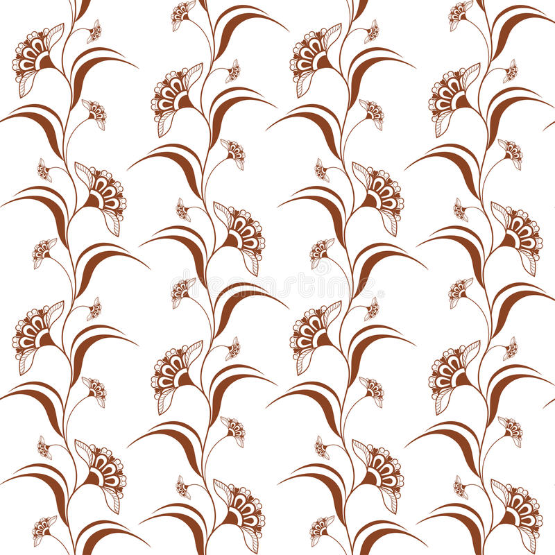 Ornamental seamless pattern with brown henna vertical flowers in indian mehndi style. Vector illustration isolated on white background vector illustration