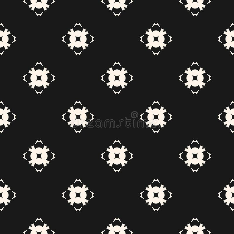 Ornamental seamless pattern with carved floral shapes, mosaic elements. Vector geometric texture. Ornamental seamless pattern. Abstract monochrome background stock illustration