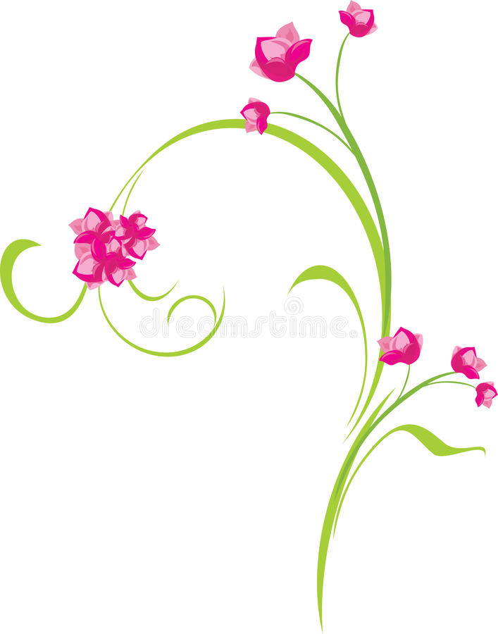 Ornamental Sprig With Pink Flowers Royalty Free Stock Image