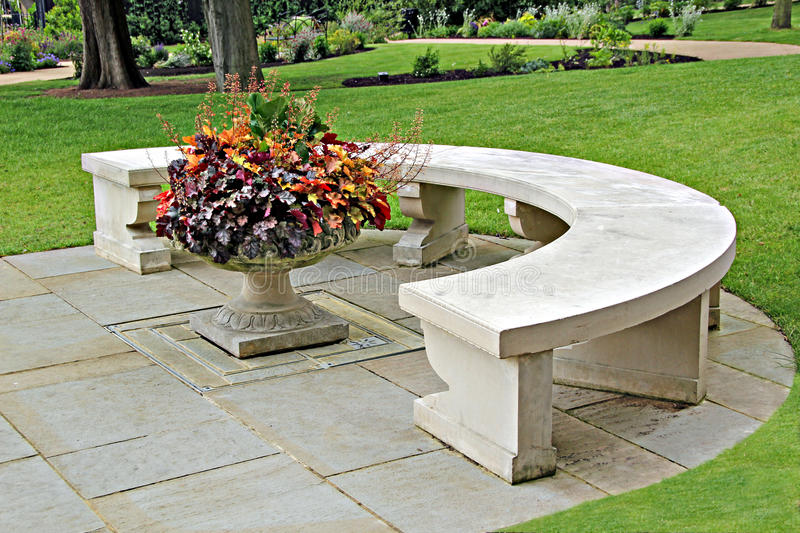 Download Ornamental stone bench stock image. Image of path, flowers - 25396499
