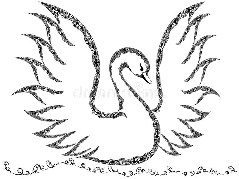 Ornamental swan with raised wings. Floating on the water, vector outline royalty free illustration