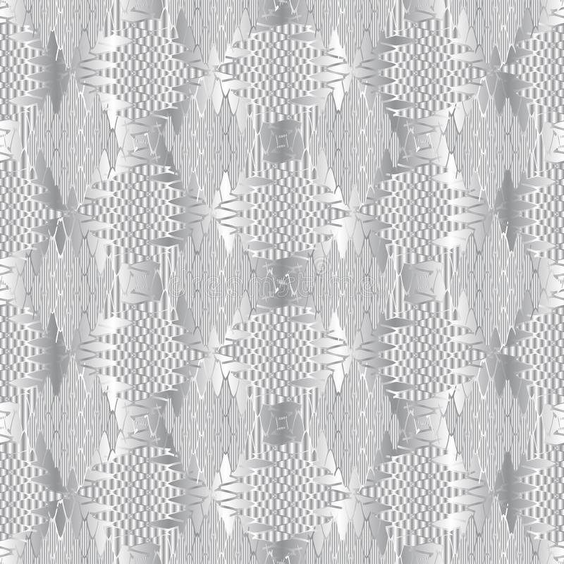 Ornamental textured silver 3d vector seamless pattern. White modern silk background. Repeat patterned surface backdrop. Elegance. Abstract ornament. Decorative royalty free illustration