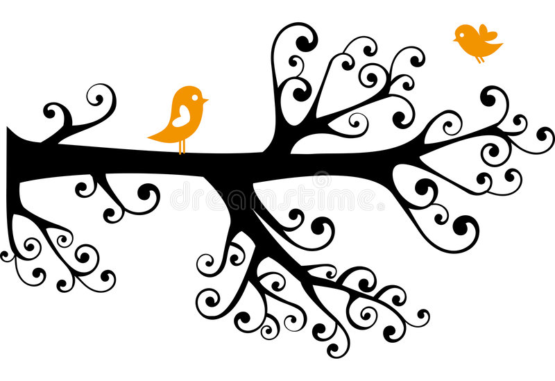 Ornamental tree with lovebirds stock image