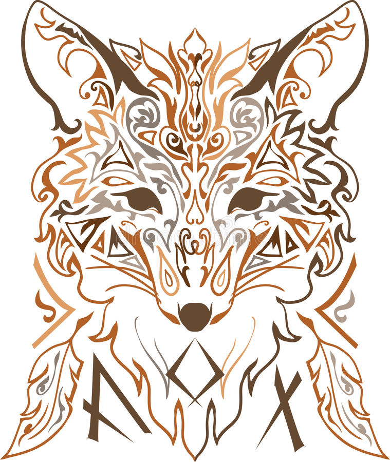 Ornamental tribal style fox silhouette vector illustration