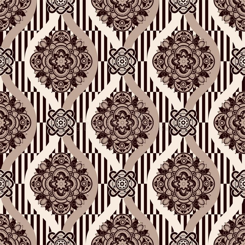 Ornamental vector seamless pattern. Ethnic seamless wallpaper. Folk ornamental backdrop. Vector geometric illustration stock illustration