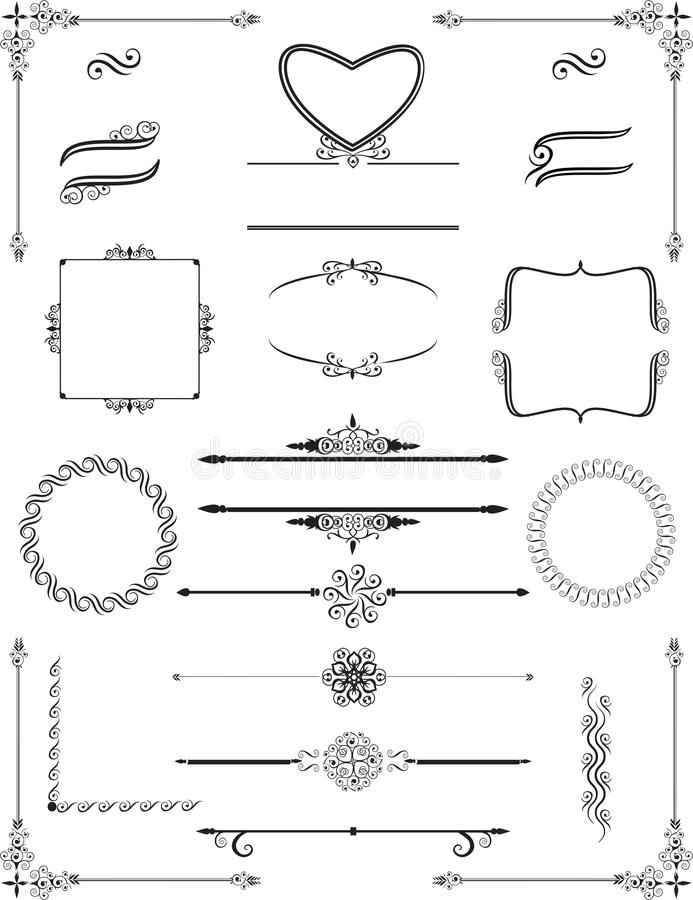 Ornamental victorian frames and rule lines. Vector. royalty free illustration