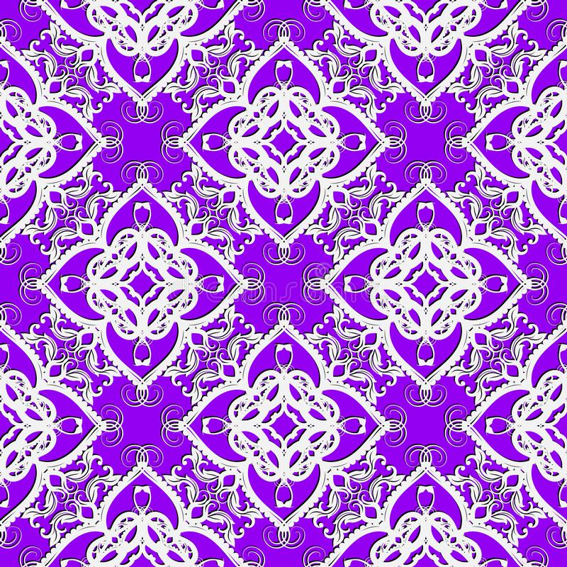 Ornamental vintage arabesque seamless pattern. Vector violet background with white arabic style ethnic ornaments. Repeat lace. Backdrop. Damask ornament vector illustration