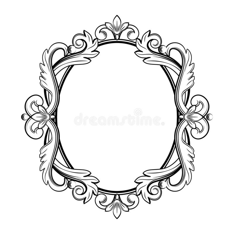 Ornamental vintage frame. Vector illustration in black and white colors royalty free illustration
