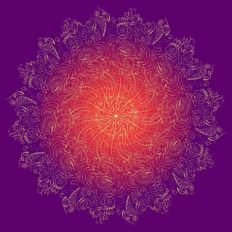 ornamental Wektorowy abstrakcjonistyczny geometryczny projekt, kwieciści elementy w hindusie projektuje royalty ilustracja