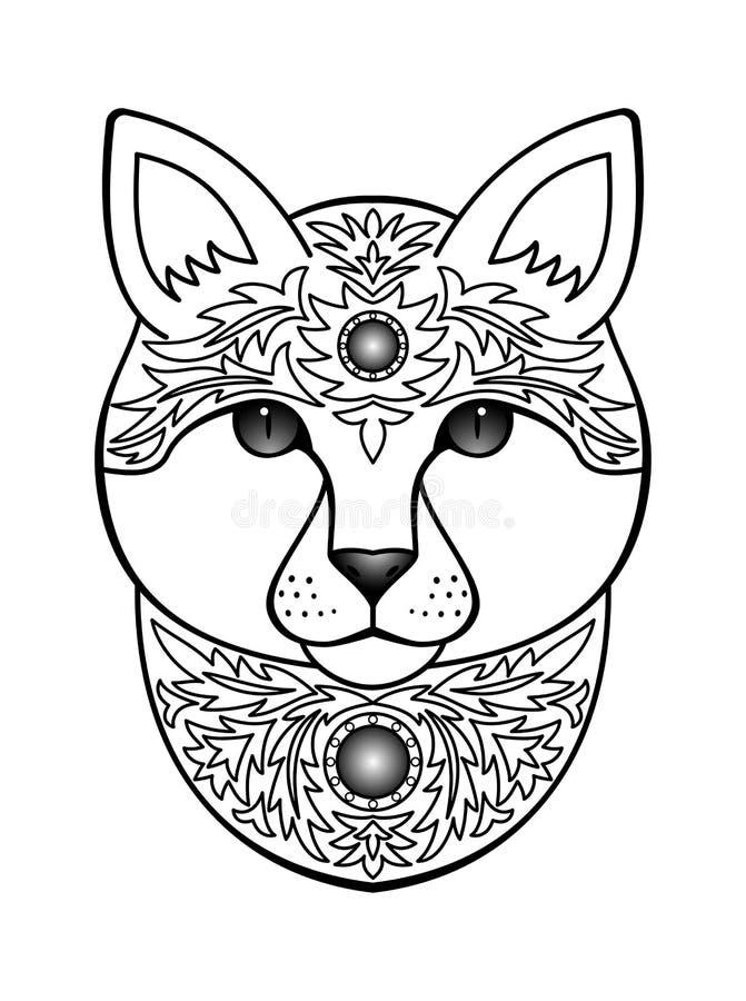 Ornamental White Cat Stock Vector Illustration Of Detailed 64678716